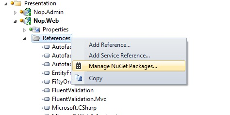Adding reference using NuGet