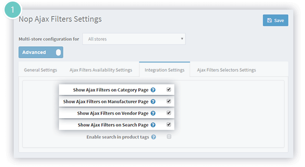 Ajax Filters plugin Features - integrates with the category, manufacturers, vendors and search pages