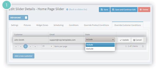 Anywhere Sliders Plugin Features - exclude customers or products from the condition