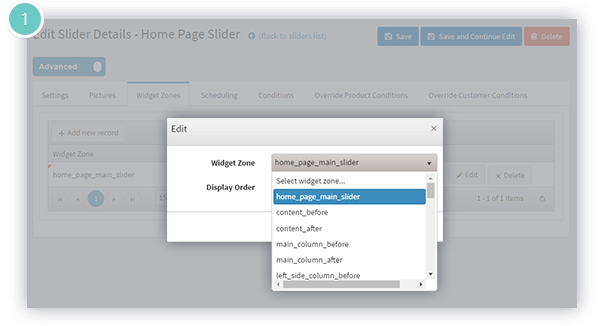 Anywhere Sliders Plugin Features - widget zones