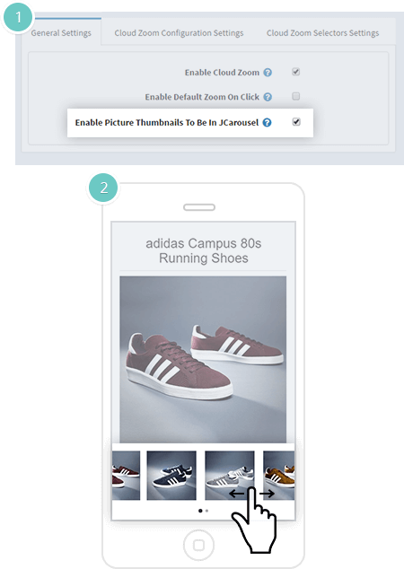 Cloud Zoom Plugin Features - carousel of product images