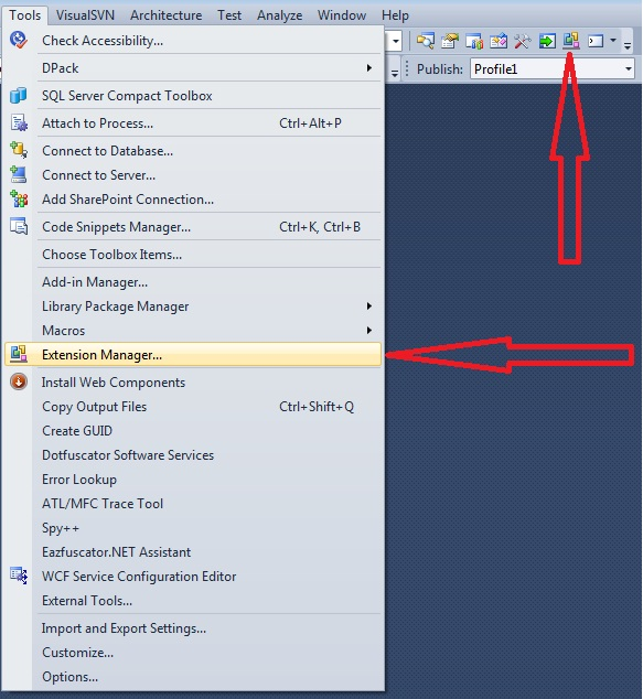 Visual Studio Extension Manager button