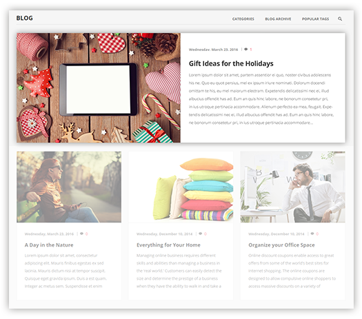 Pavilion Theme Features - Rich Blog plugin included