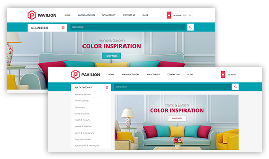 Pavilion Theme Features - Home Page Image Slider