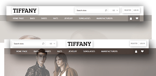 Tiffany Theme Features - Header Layout