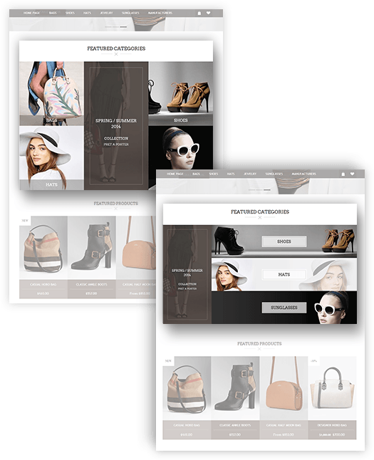 Tiffany Theme Features - Home Page Categories Design Variants