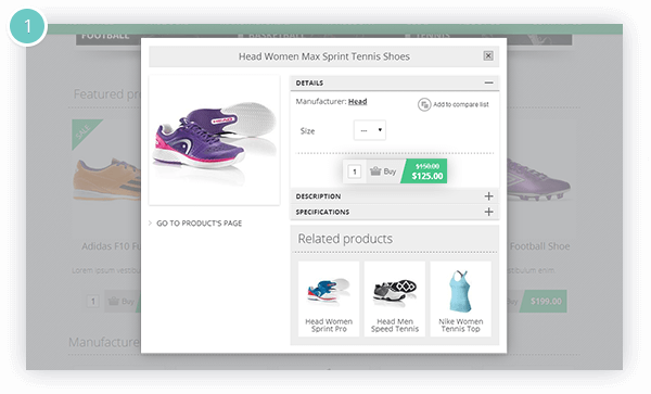 Ajax Cart Plugin Features - Ajax Cart is integrated with the Quick View plugin for nopCommerce