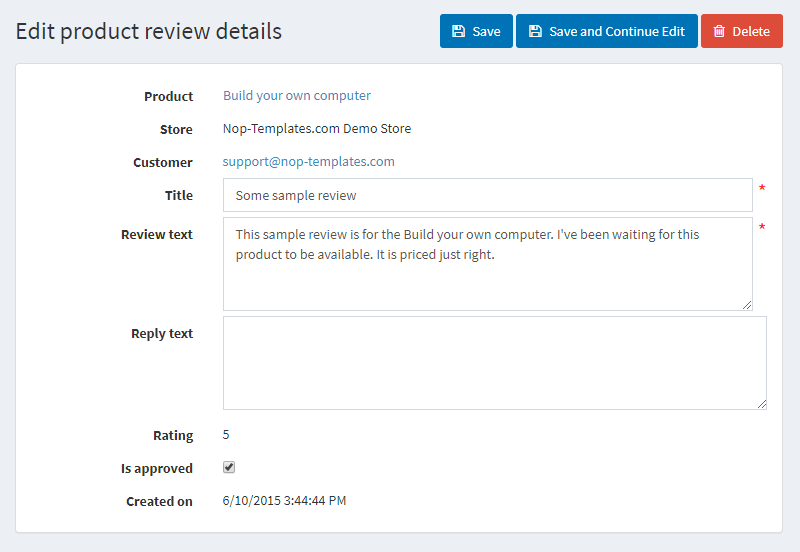 Editing Product Reviews in NopCommerce