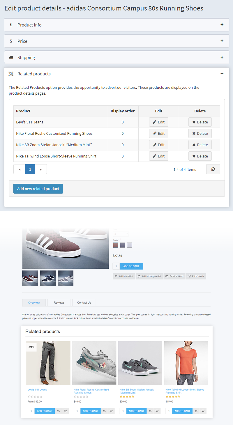 Related Products in NopCommerce