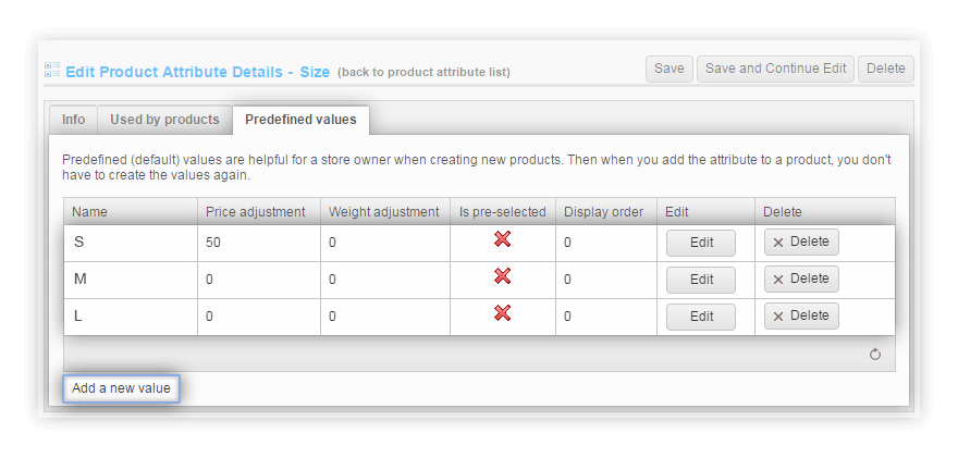 Predefined Values for product attributes