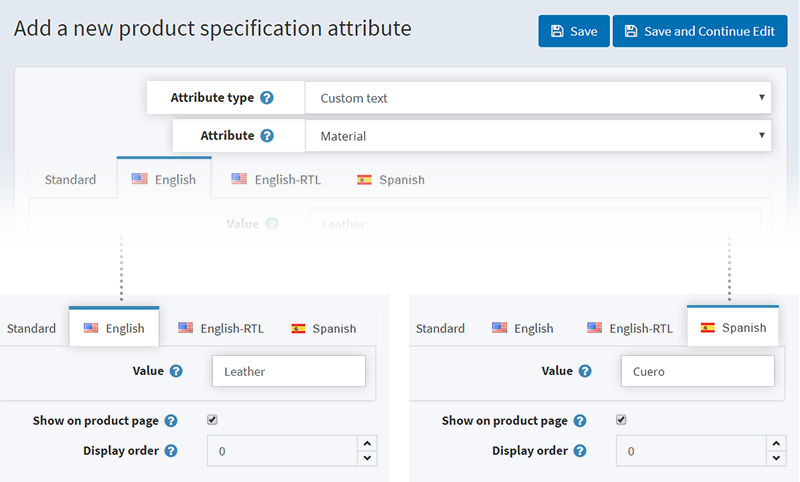 "Custom text"" of specification attributes is localizable"