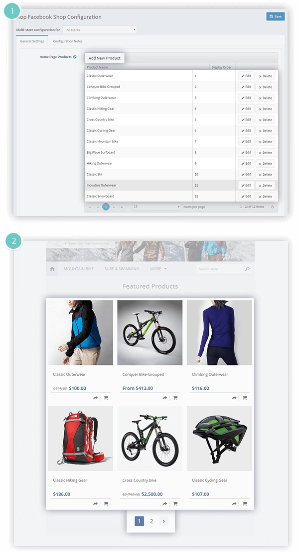 Facebook Shop Plugin Features - select the products on the homepage