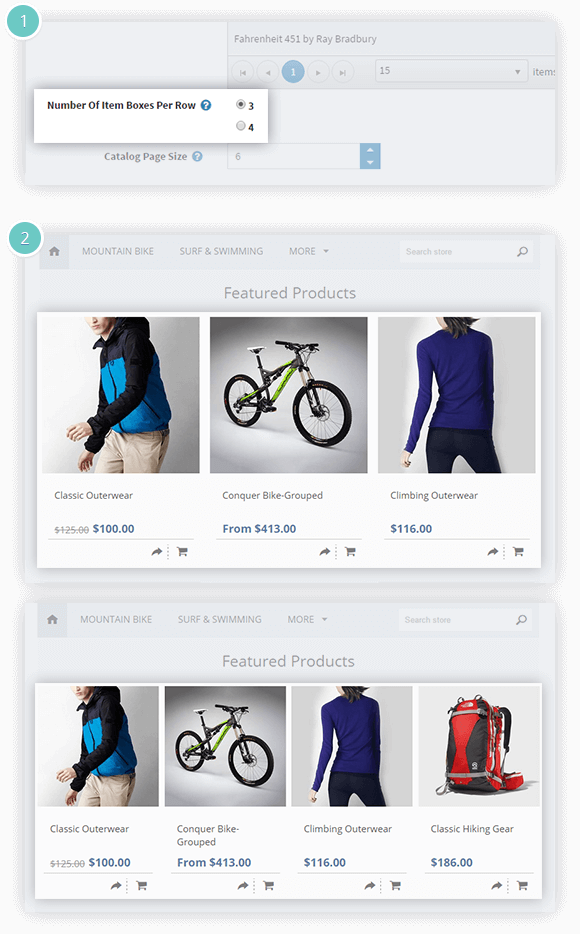Facebook Shop Plugin Features - set the number of items per row
