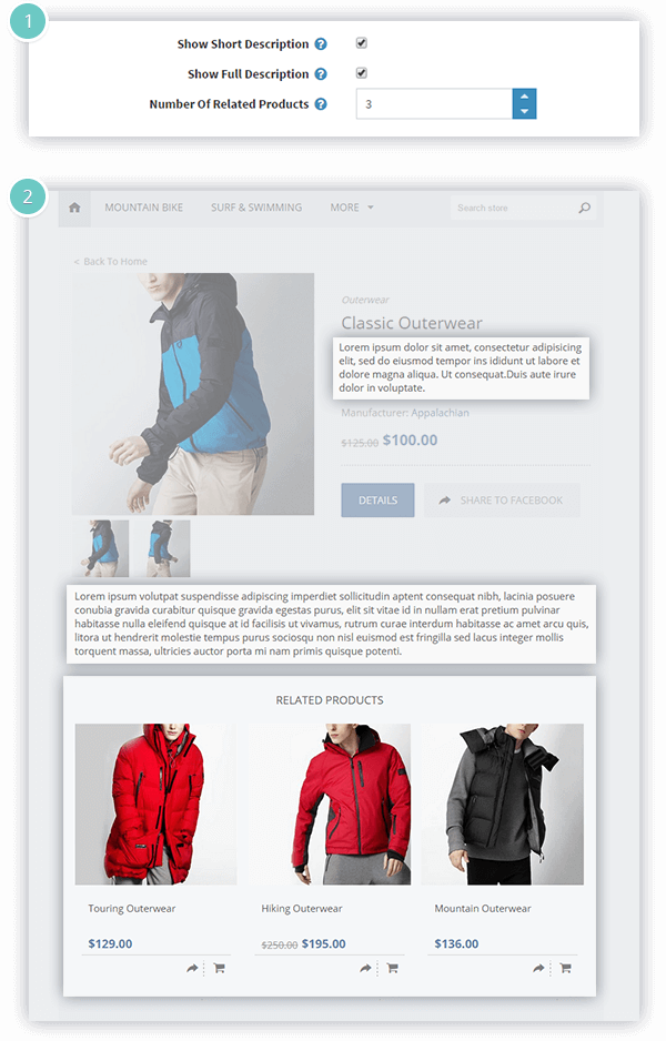Facebook Shop Plugin Features - product page settings