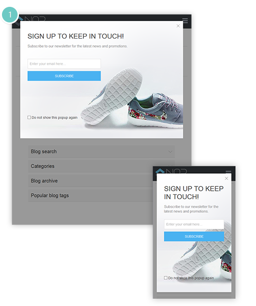 Newsletter Popup Plugin Features - the pop-up will adjust depending on the screen resolution