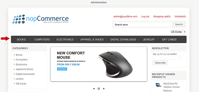 nopCommerce menu