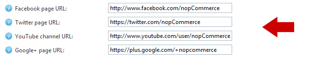 nopCommerce social urls administration