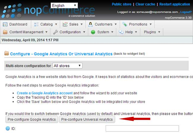 nopCommerce Google Universal Analytics