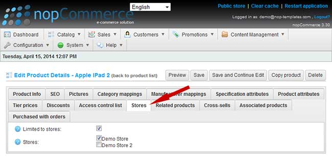 nopCommerce store configuration per product