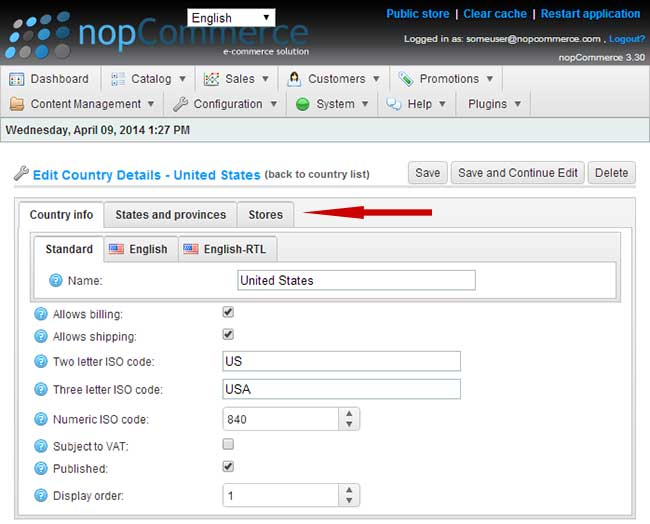 NopCommerce countries management