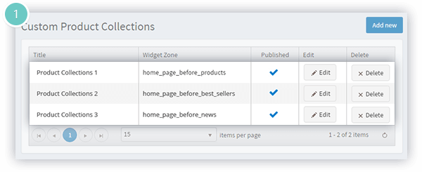 Smart Product Collections Features - unlimited widget zones available