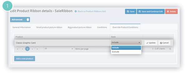 Product Ribbons Plugin Features - exclude products from a condition