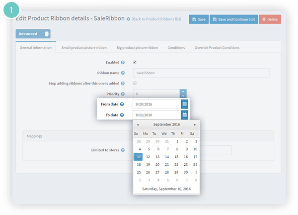 Product Ribbons Plugin Features - setting a start and end date for a ribbon