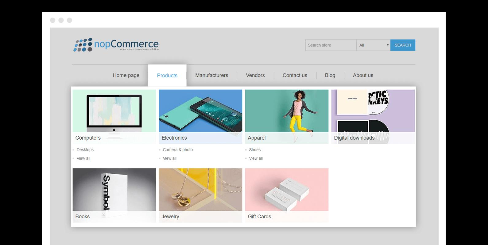 Nopcommerce Mega Menu Plugin Ecommerce Extensions Nop