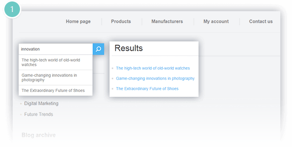 Rich Blog Plugin Features - blog search available
