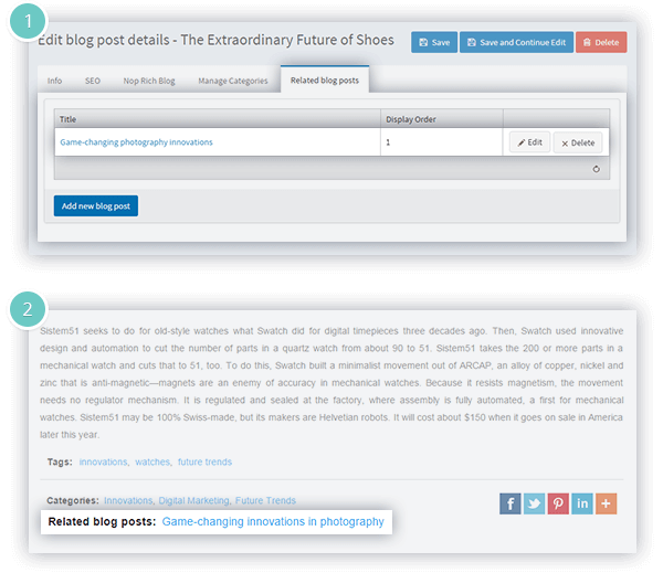 Rich Blog Plugin Features - related blog posts