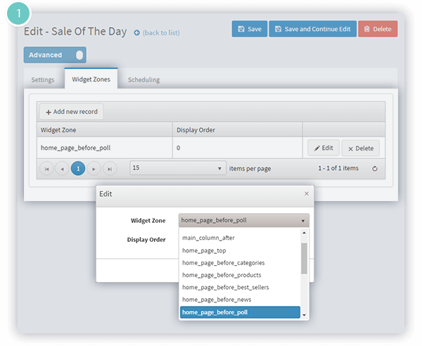 Sale of the Day Plugin Features - choose the page and the widget zone for your offers