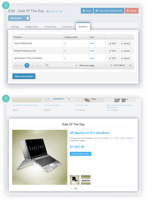 Sale of the Day Plugin Features - choose the product/s for your special offers