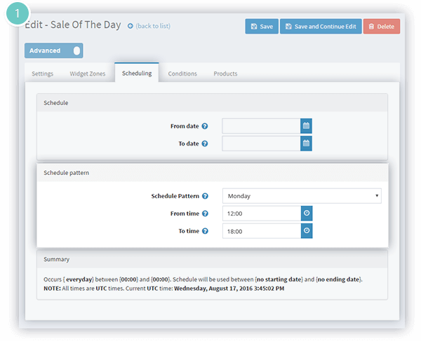 Sale of the Day Plugin Features - scheduling pattern