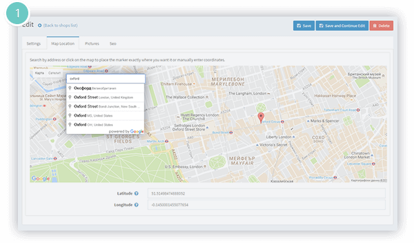 Store Locator Plugin Features - search a location by address, city or postcode