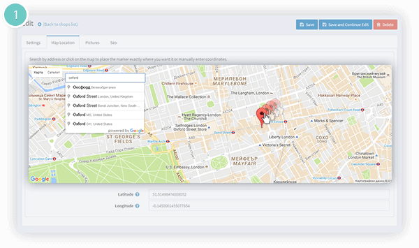 Store Locator Plugin Features - pin a store location