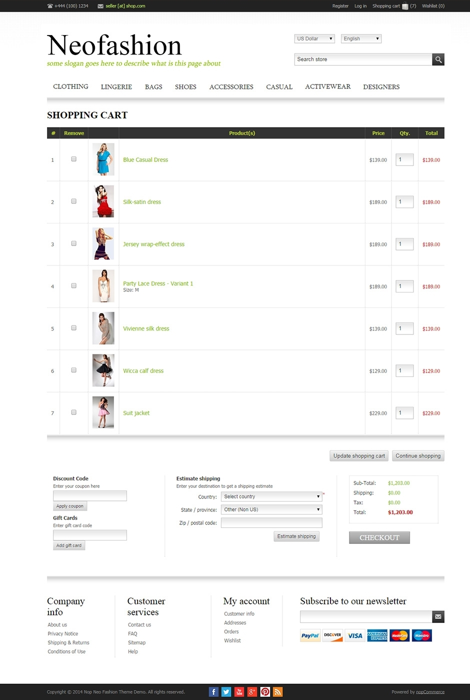 Nop neofashion responsive theme for Nop commerce templates