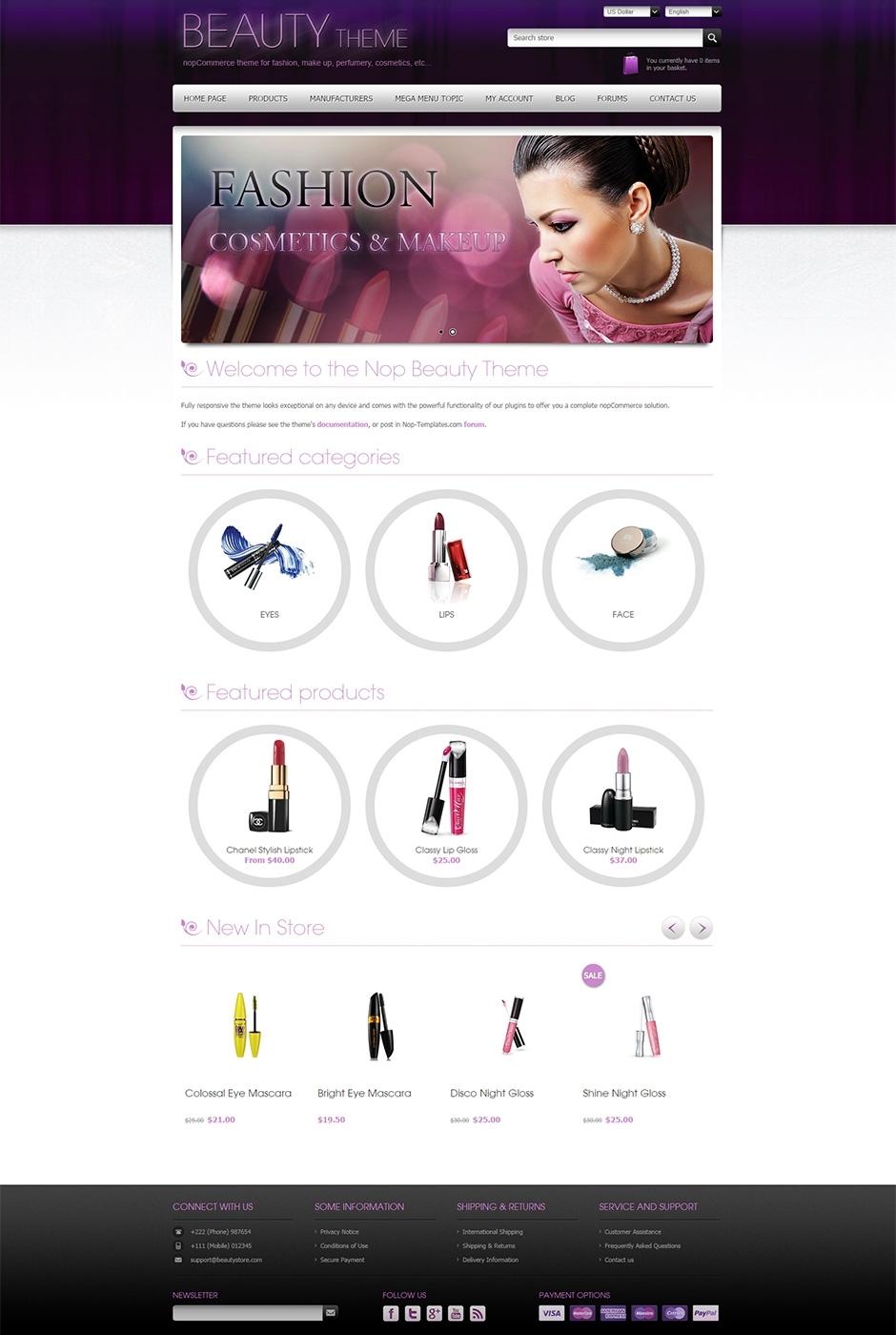 Nop beauty responsive theme for Nop commerce templates