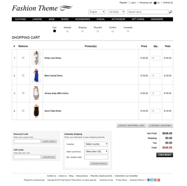 Fashion Theme - Checkout Page