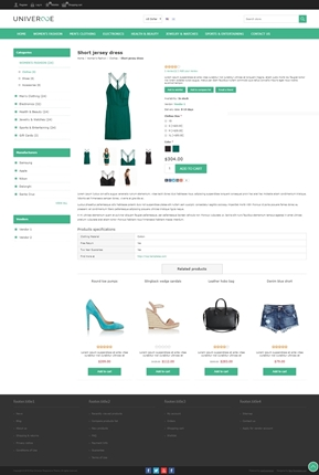 Universe Theme - Product Page